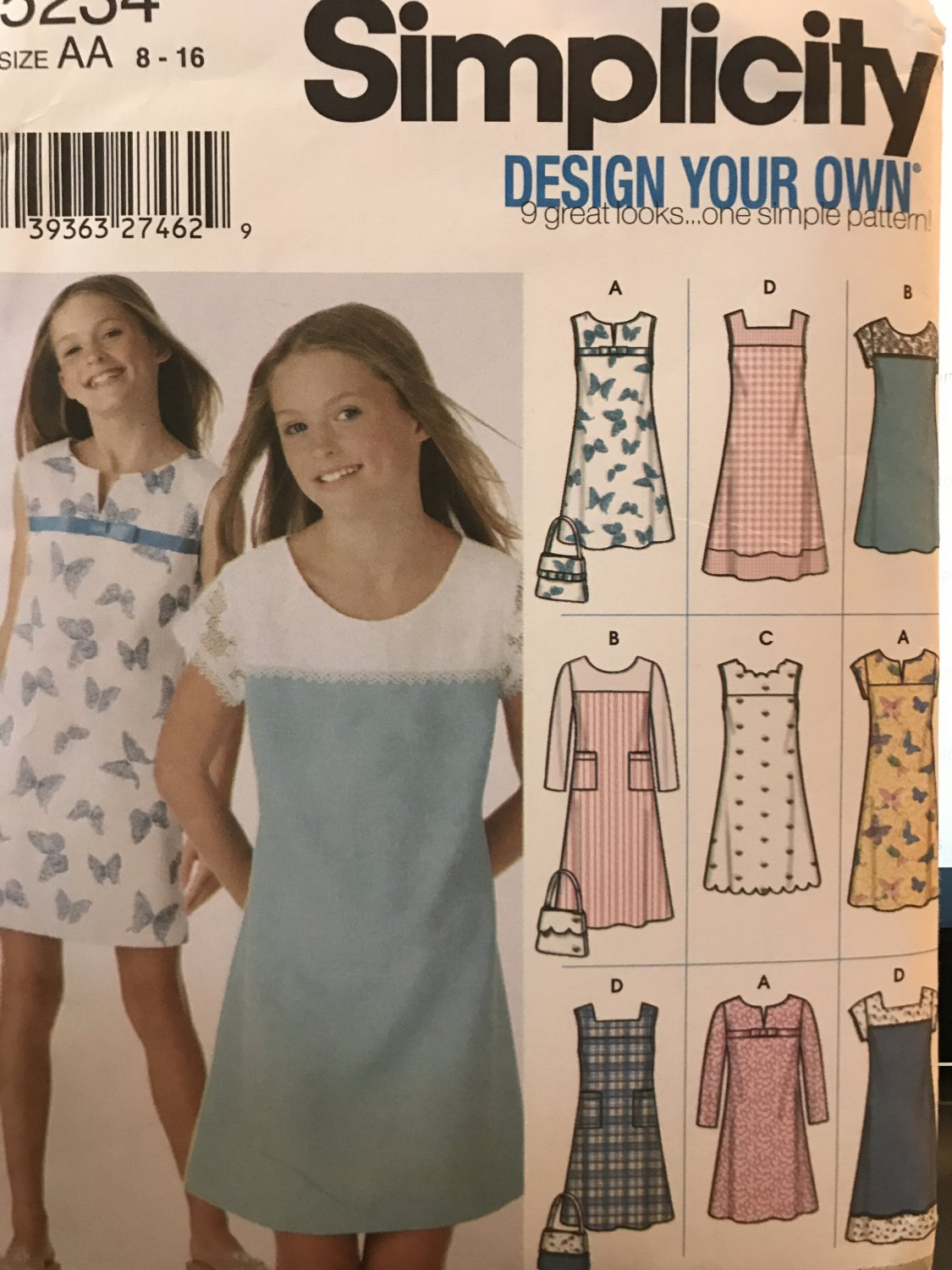 Simplicity 5234 Girls's Design your own dress Sewing Pattern Size 8-16