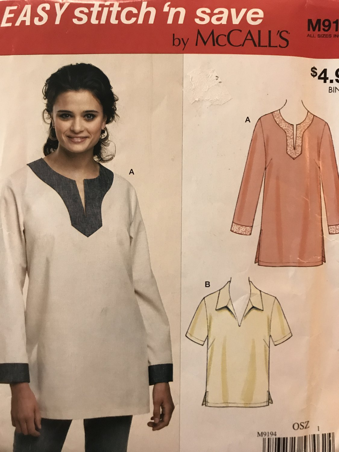 Easy Stitch 'n Save By McCall's 9194 misses tunic tops size XS to XL Uncut sewing pattern