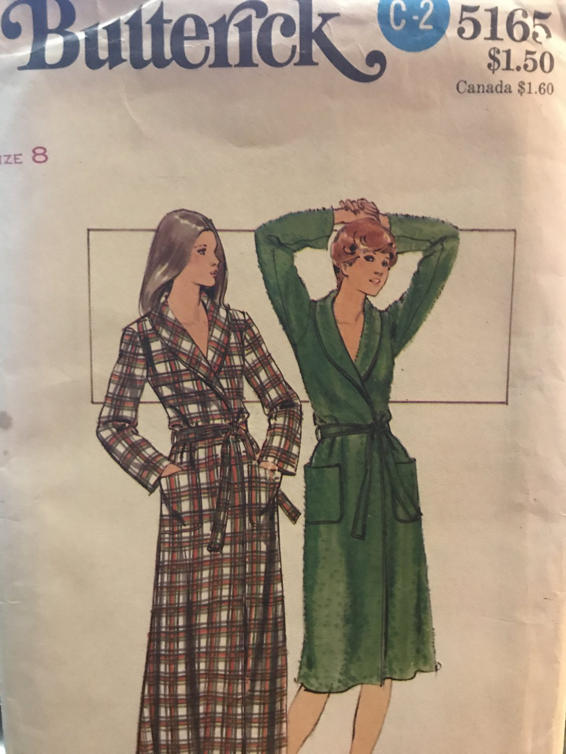 Butterick 5165 Misses' Robe Semi-fitted front wrapped robe in two lengths Sewing Pattern size 8