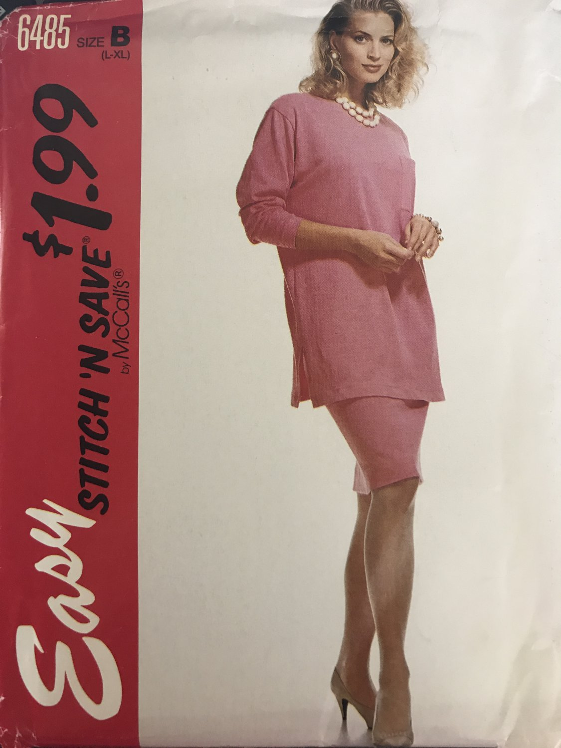 Stitch 'n Save McCall's 6485 Misses Tunic top Skirt stretch knits only size L to XL sewing pattern