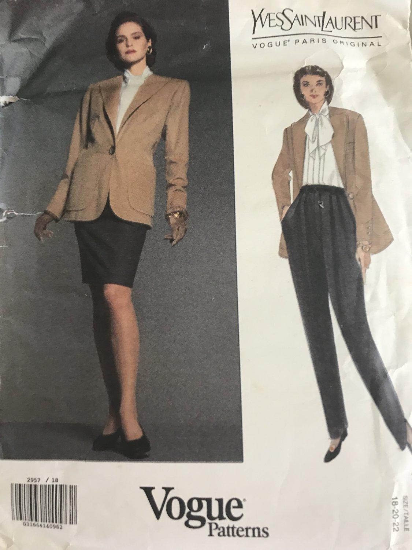 Vogue 2957 Yves Saint Laurent Jacket Pants Skirt Paris Original Sewing Pattern Size 18 - 22