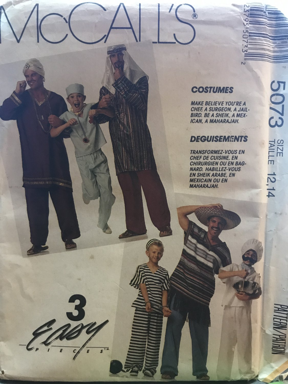 McCall's 5073 Sewing Pattern Teen Boys' and Boys' Costumes size 12, 14