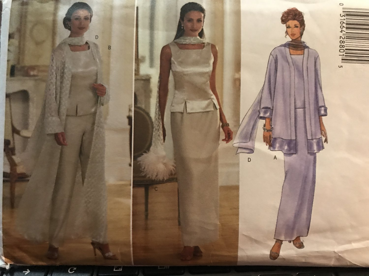 Misses Evening Wear Duster Top Skirt Pants Scarf Size 14 16 18 Butterick Sewing Pattern 5885