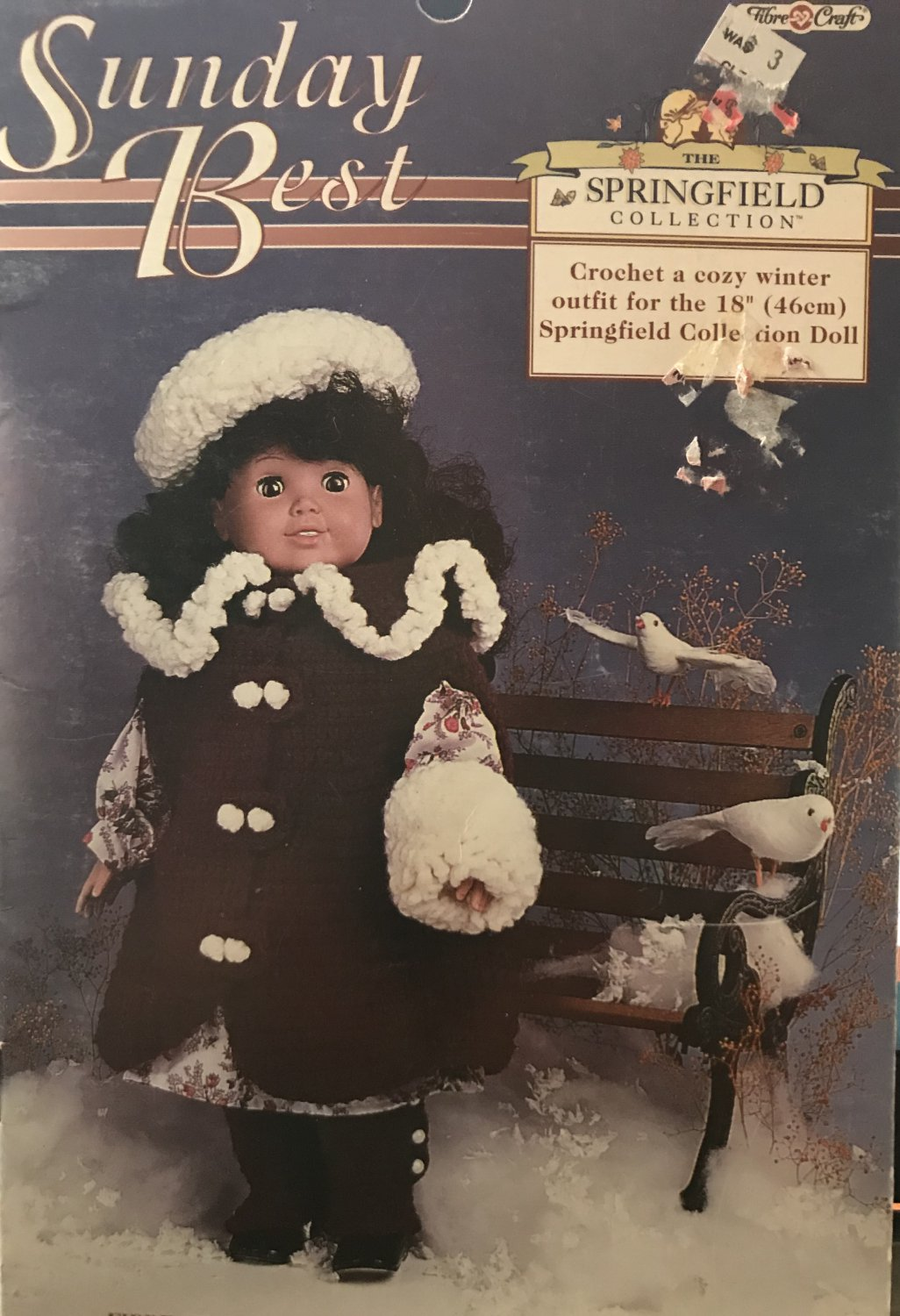 """Sunday Best Doll outfit for 18"""" Doll Fibre-Craft FCM479 Crochet Pattern"""