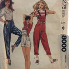 McCall's 8000 Misses' Pants or Overalls and Suspenders Size 6 Sewing Pattern