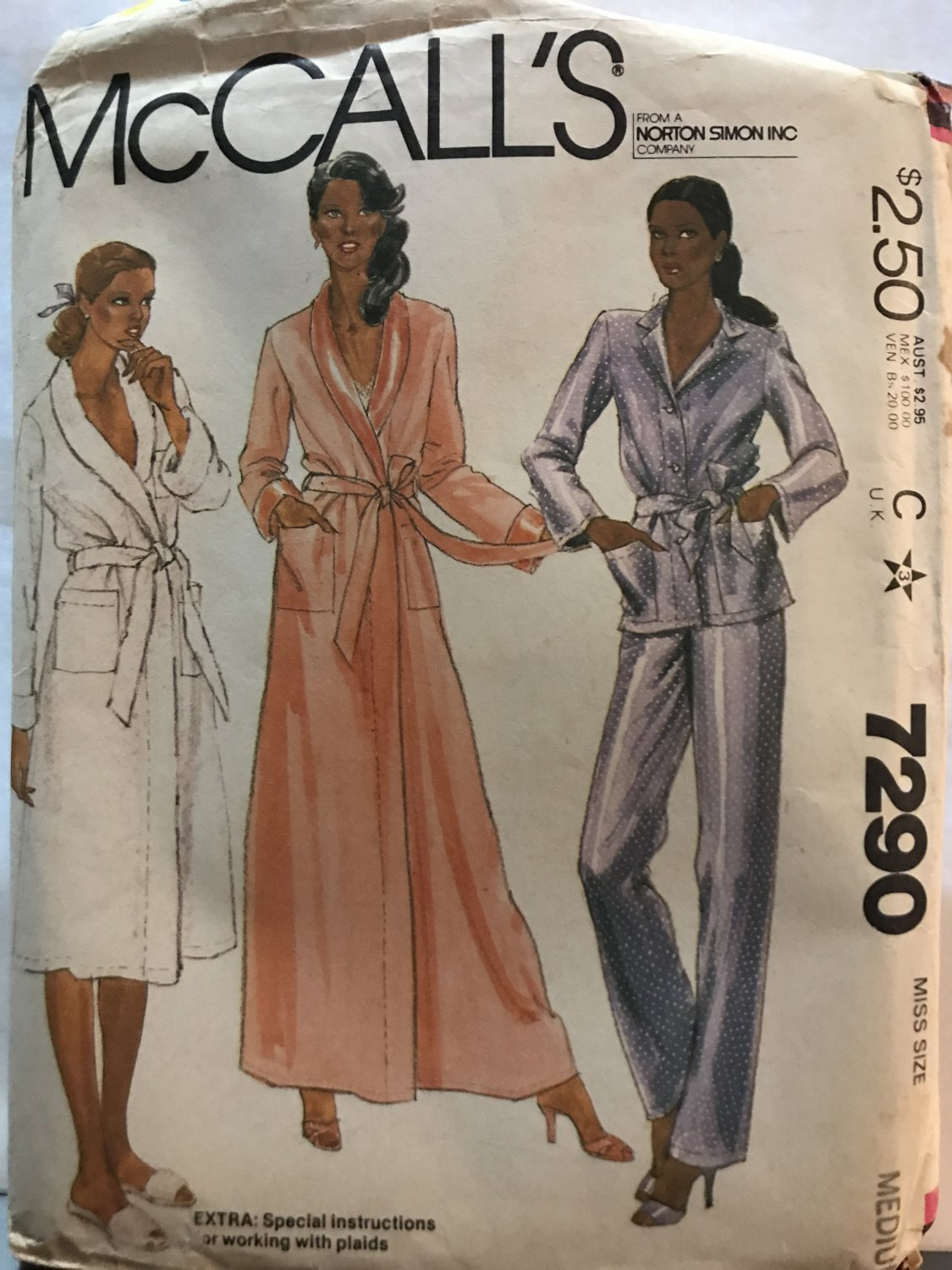McCall's 7290 Misses' Robe and Pajamas Sewing Pattern size 14 16