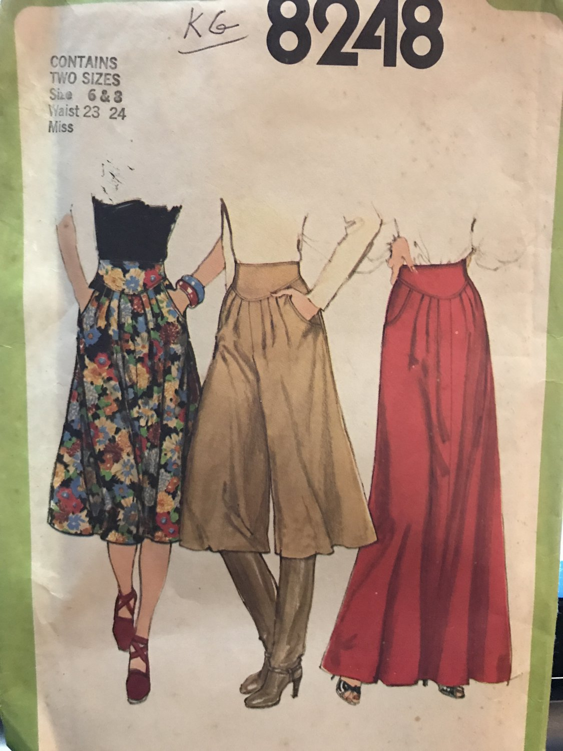 Simplicity 8248 Misses' Skirt in Two Lengths and Culottes Sewing Pattern Size 6 & 8