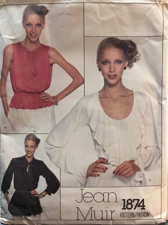 Vogue Designer Original 1874 Jean Muir - Misses' Blouses Sewing Pattern size 12