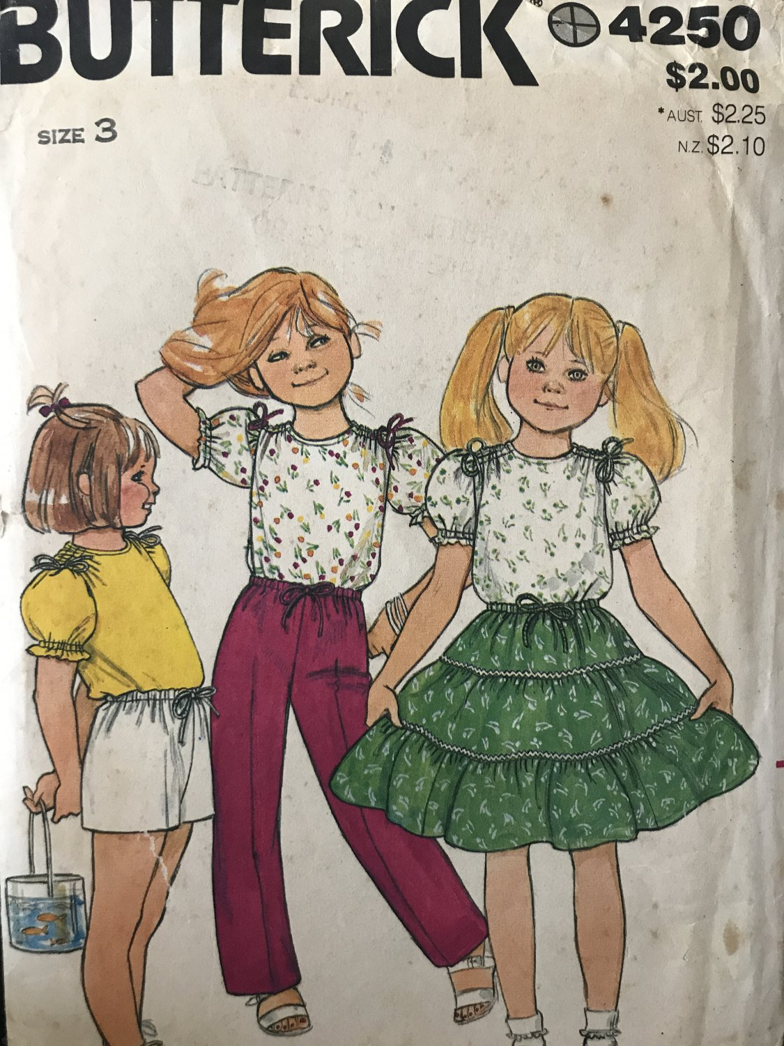 Butterick 4250 Children's top, skirt, shorts, and pants Sewing Pattern Size 3