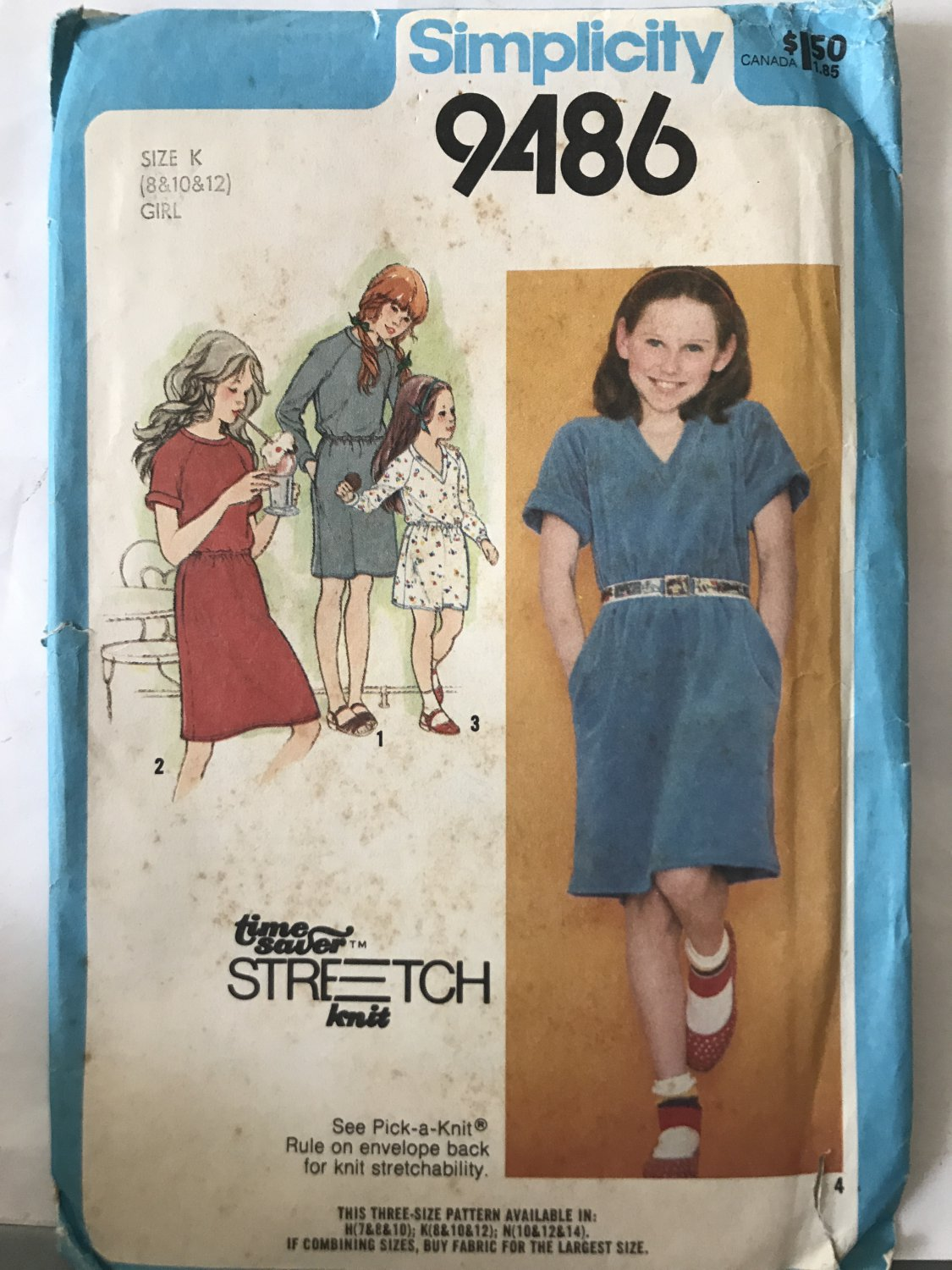 Simplicity 9486 Time Saver Stretch Child's Knit Dress sewing pattern size 8 10 12
