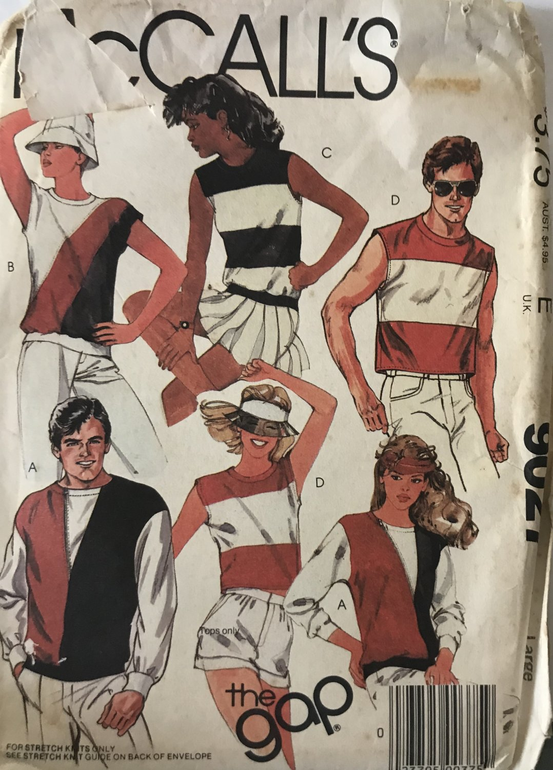 """McCall's 9027 Mens' and Women's Knit Tops T-shirt sewing pattern, size Large, 40""""-42"""" chest"""