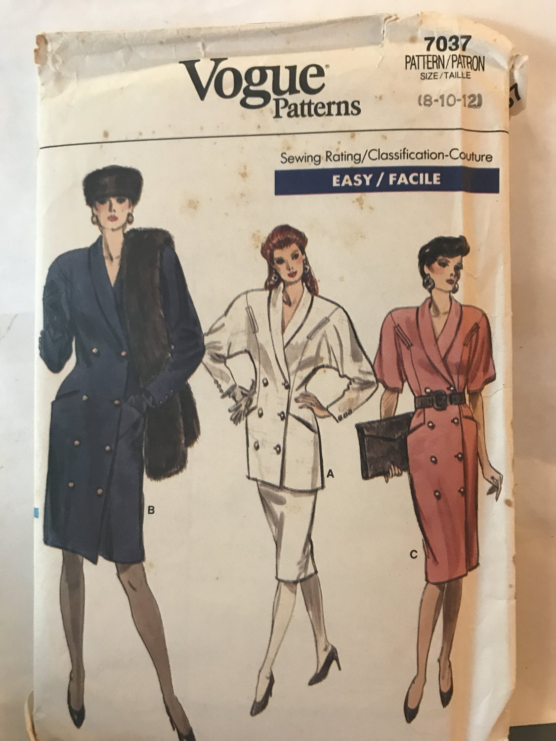 Vogue 7037 Double Breasted Dress, Tunic and skirt Sewing Pattern Size 8 10 12