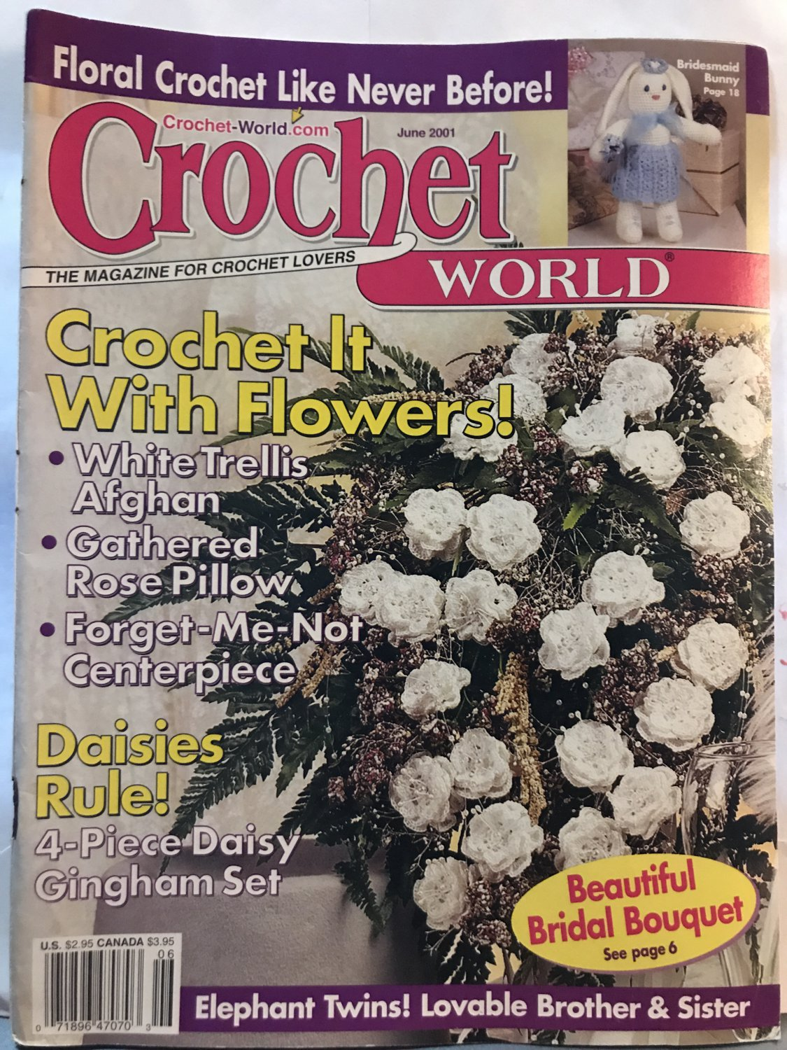 June 2001 Afghans, Bridal Bouquet, Pillow, Toys & More Crochet Patterns