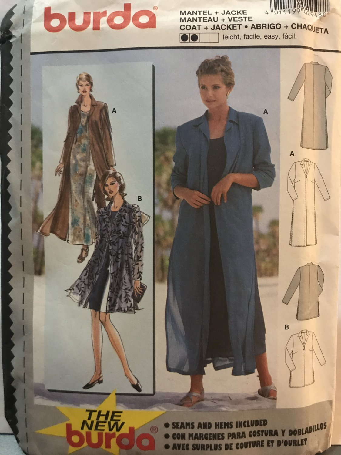 Burda Sewing Pattern 2948 Jacket in two lengths sewing pattern size 10 to 20