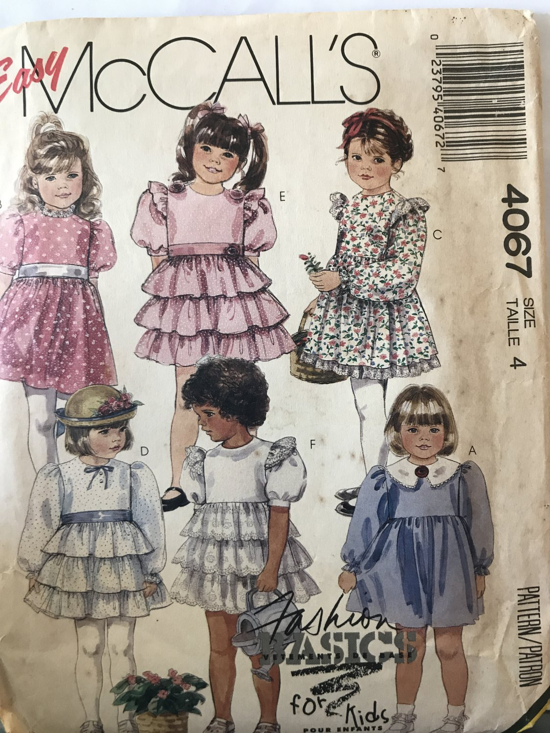McCall's 4067 Girls High Waist Ruffled Dress and Flowers Sewing Pattern Size 4, Breast 23