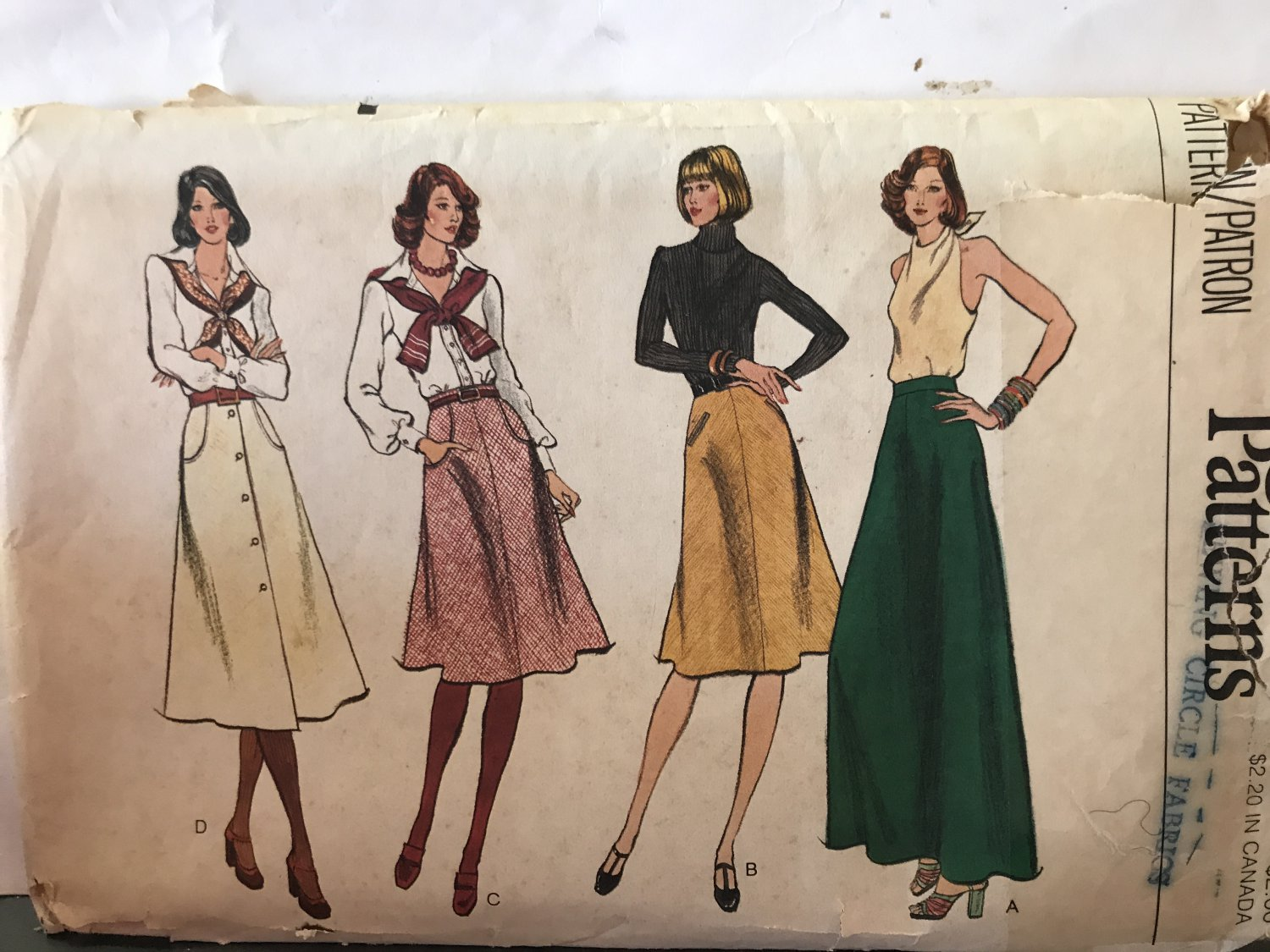 "Vogue 9003 Misses' Bias, slightly flared skirts size 30"" waist sewing pattern"