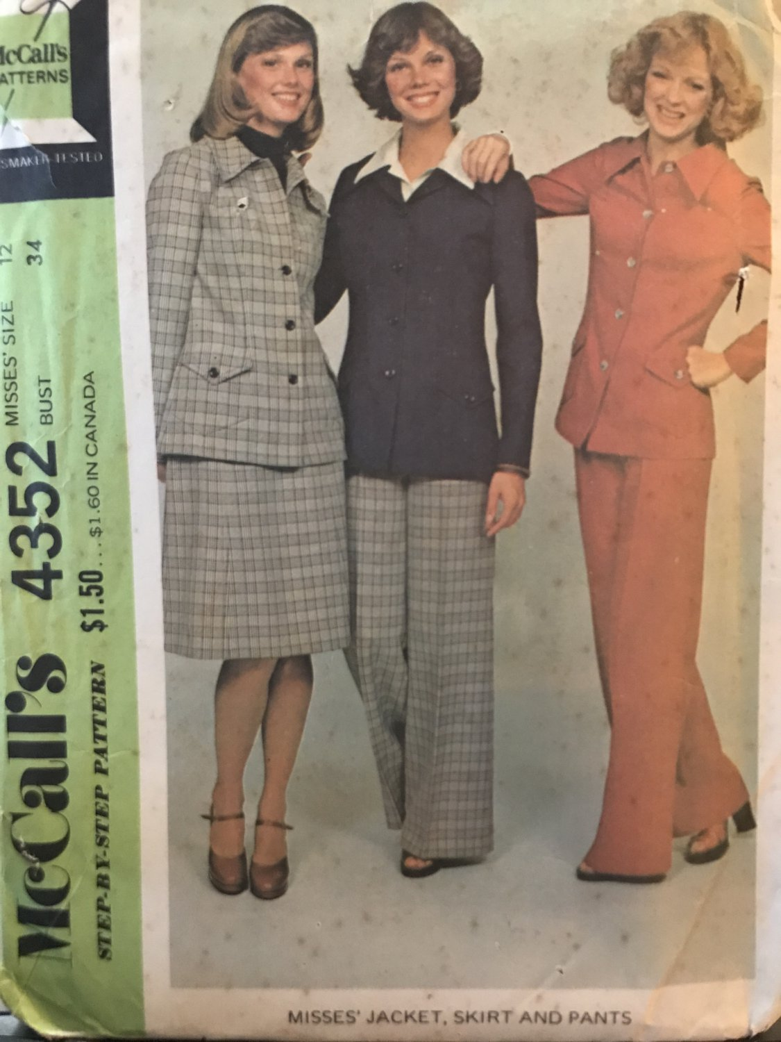 McCall's 4352 Misses Vintage Jacket, Skirt and Pants Suit Pattern, size 12