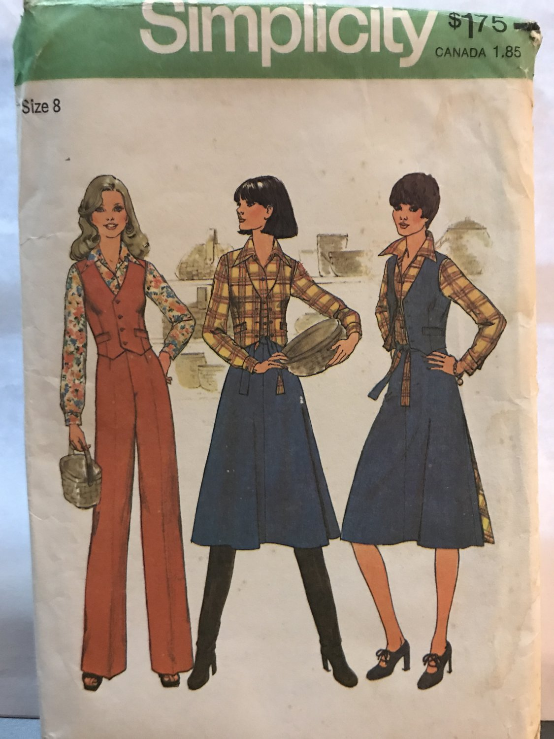 Simplicity 7675 Misses' Shirt, Pants and Reversible Vest and Back-Wrap Skirts Sewing Pattern size 8