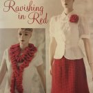 Ravishing in Red Skirt, Ruffle Scarf and flower pin Crochet Pattern Annies Attic 885085