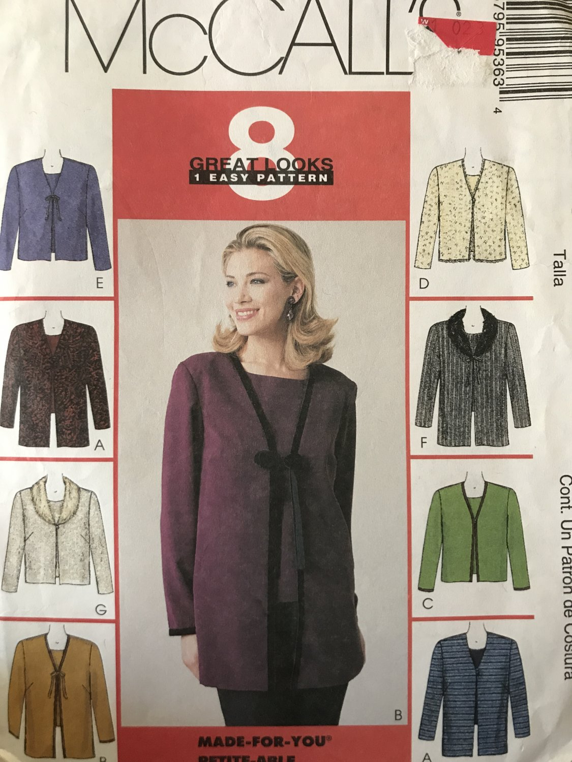 McCall's 9536 Misses' Cardigan in Two Lengths and Top size 12, 14 Sewing Pattern