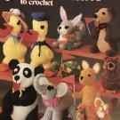 Crocheted Critters duck rabbi kangaroo owl turtle dog panda elephant Leisure Arts pattern 167