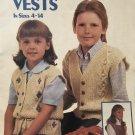 Children's vests Leisure Arts 312 knit and crochet pattern for children