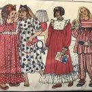 Butterick 5193 Childrens' Sleepwear Pajamas Ruffled nightgown sewing pattern size 7 8 10
