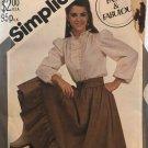 Simplicity 5648 Western Prairie Skirt, Waist Cincher & Ruffle Blouse Sz 8-12