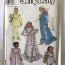 Simplicity 8941 Girls Sleepwear Nightgown Pajamas Pattern Size 3 SM