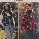 Sweaters Squared Crochet Pattern American School of Needlework 1189 Square Motif Vest & Sweaters