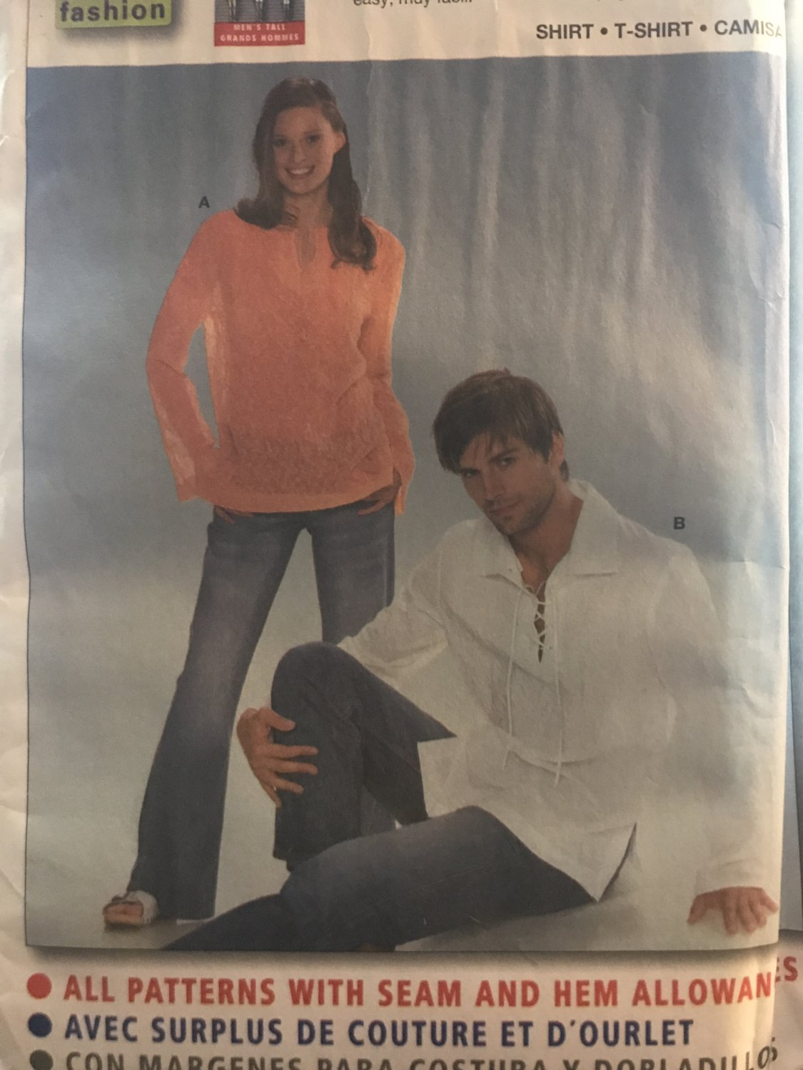 """Burda Sewing Pattern 8461 Men and Womens Shirt with or without collar size 6-18, 34"""" - 44"""""""