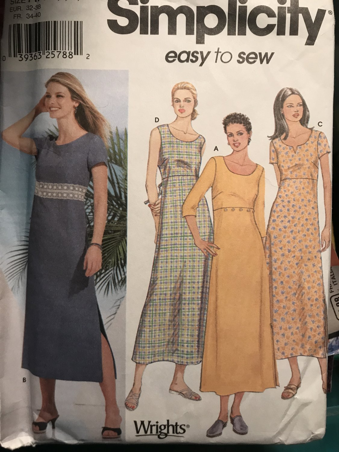 Simplicity 7207 Misses' Pullover Dress Size 6 8 10 12 Sewing Pattern
