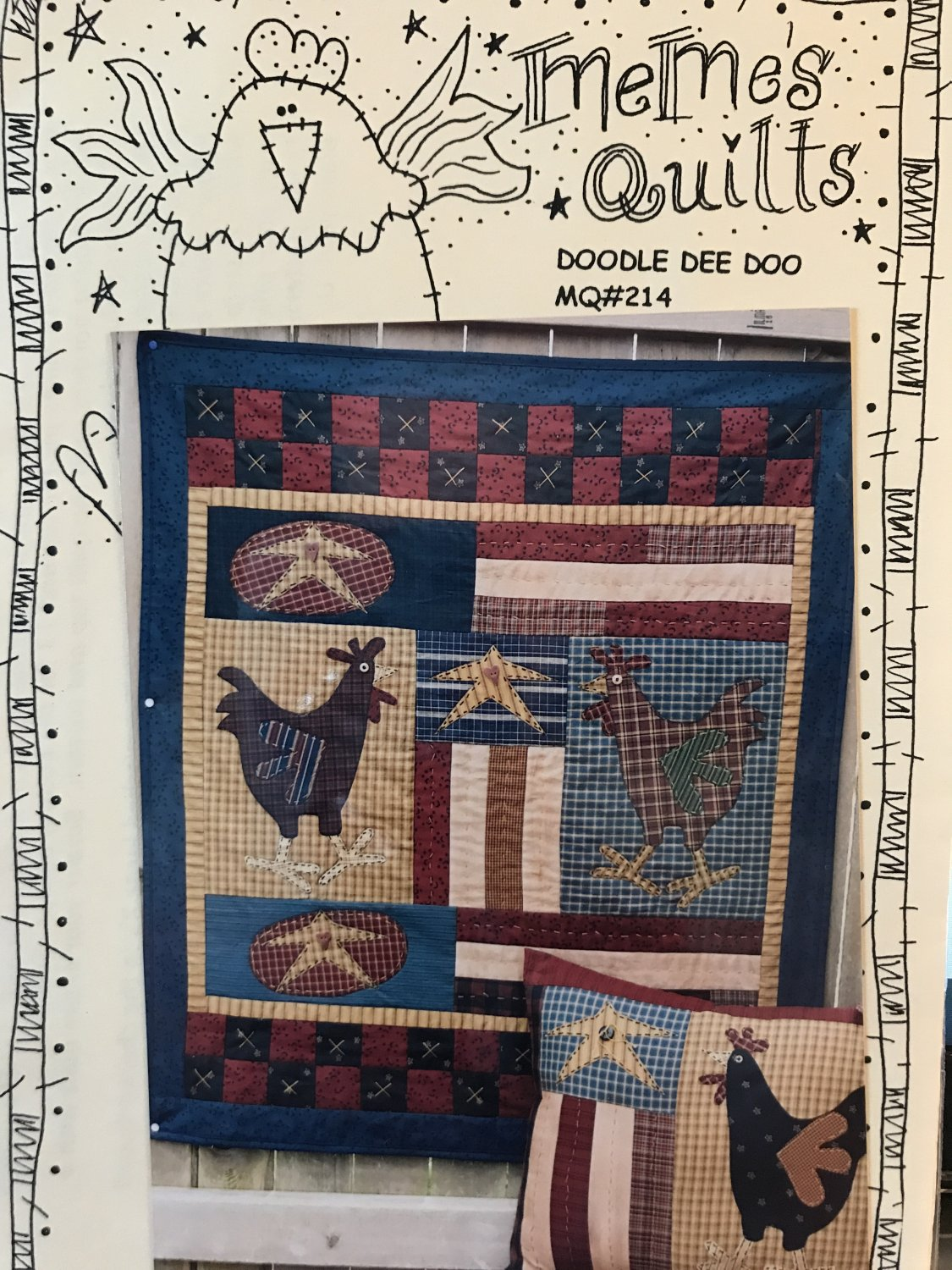 Meme's Quilts Doodle Dee Doo applique quilt Wall Hanging  & Pillow sewing pattern MQ#214