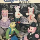 Animal characters in Crochet Mangelson Pattern from 1983 Elephant Frog Mouse Bear Pig