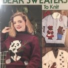 """Leisure Arts 790 Bear Sweaters to Knit 6 designs Adult sizes 32"""" to 40"""""""