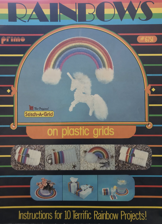 Rainbows on Plastic Grids Plastic Canvas pattern 6751 instructions for Unicorn Rainbow mobile