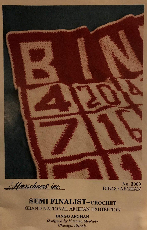 Herrschners BINGO afghan Crochet Pattern Semi-Finalist Grand National Afghan Exhibition 1992