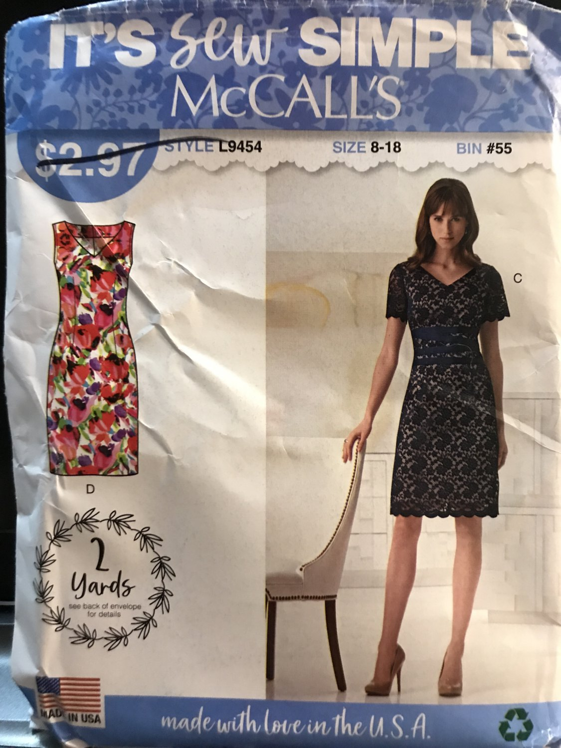 McCall's 9454 L9454 Misses Sew Simple Summer Dress with or without Lace Overlay 8-18 Sewing Pattern