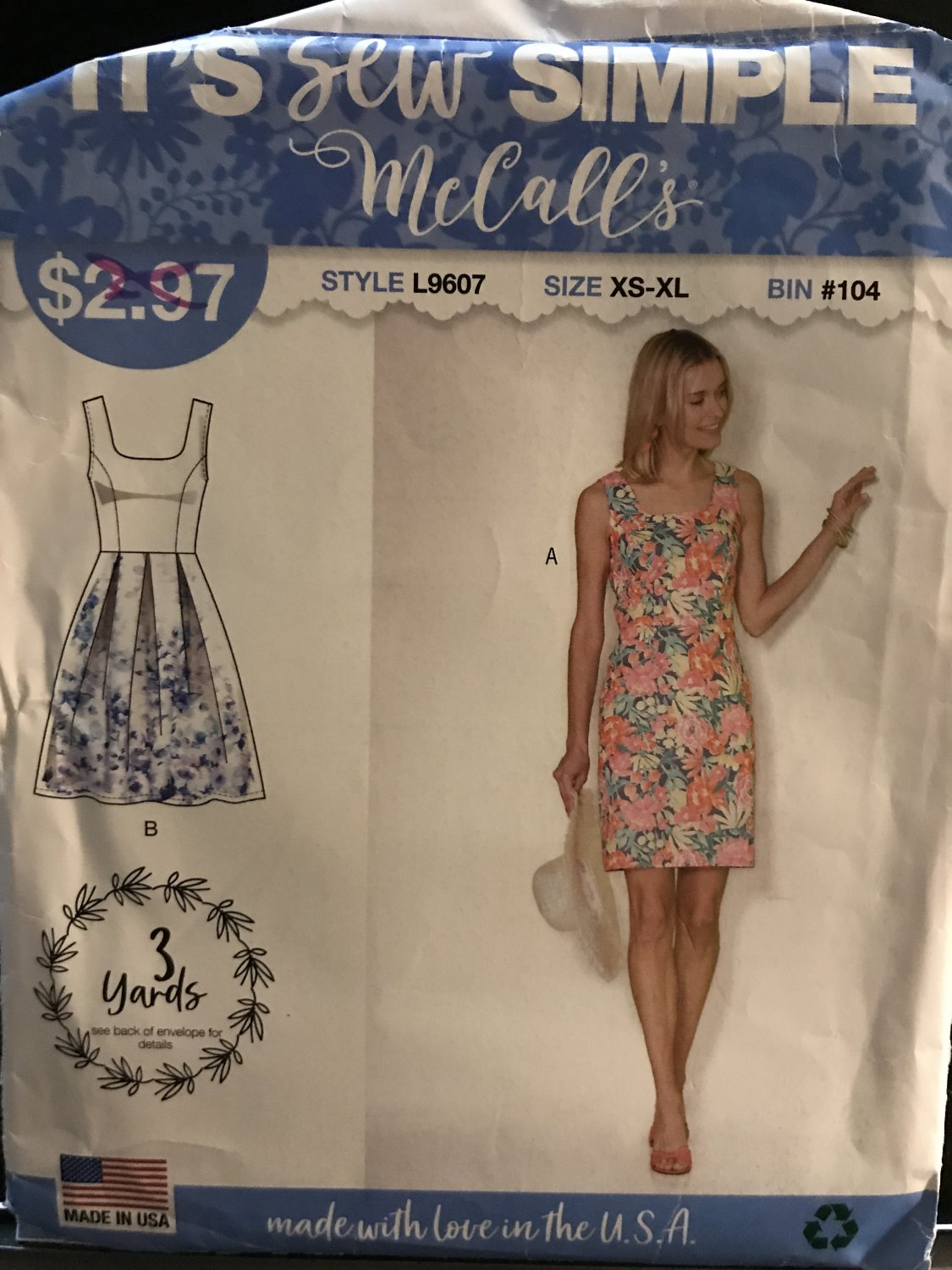 McCall's 9607 L9607 Misses Sew Simple Summer Dress in 2 designs Size XS - XL Sewing Pattern