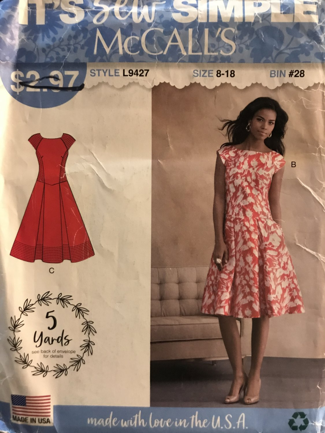McCall's 9427 L9427 Misses Sew Simple Summer Dress with skirt pleats Size 8 - 18 Sewing Pattern