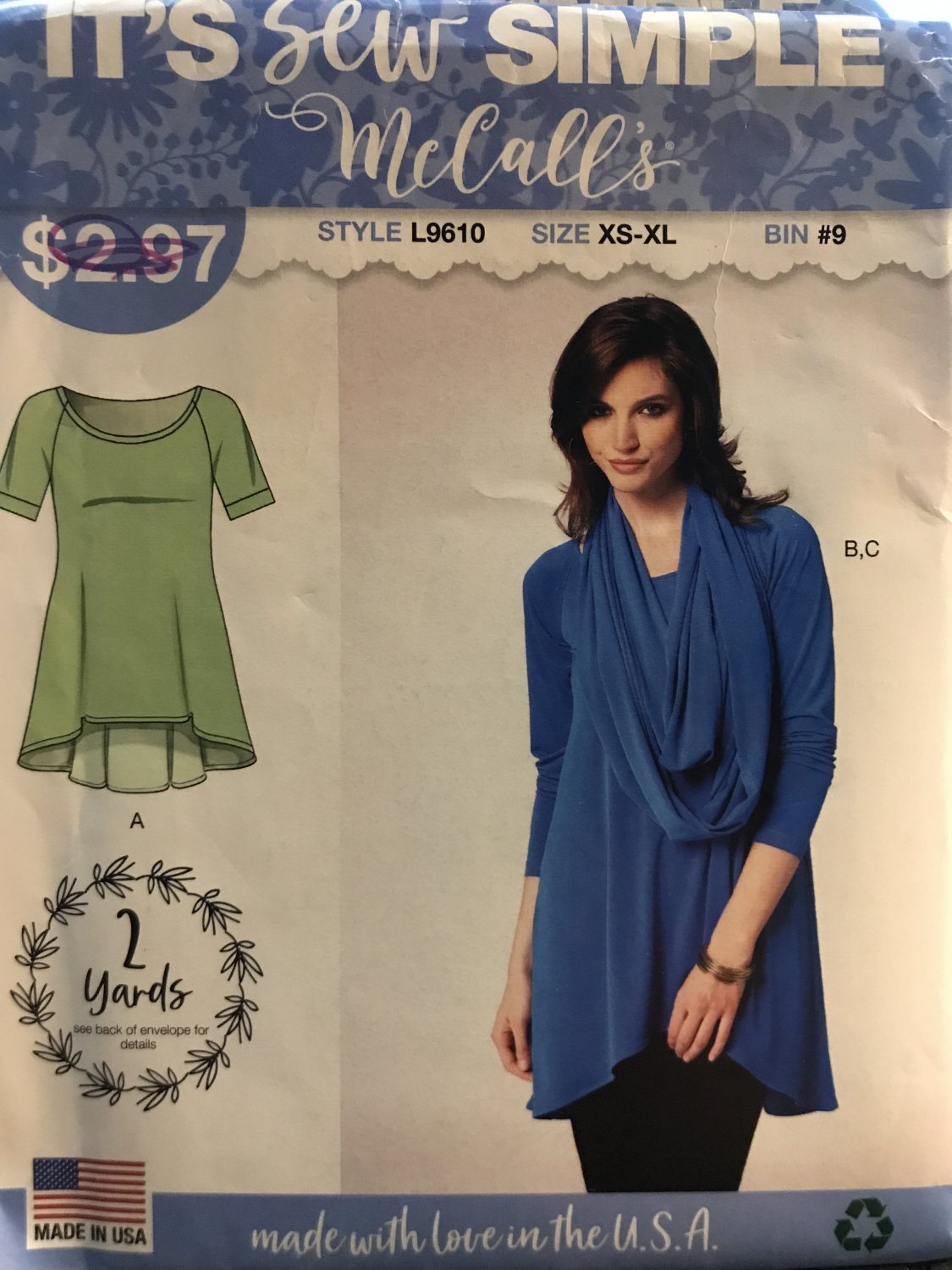 McCall's 9610 L9610 Misses Sew Simple Tunic Top & Scarf Size XS - XL Sewing Pattern