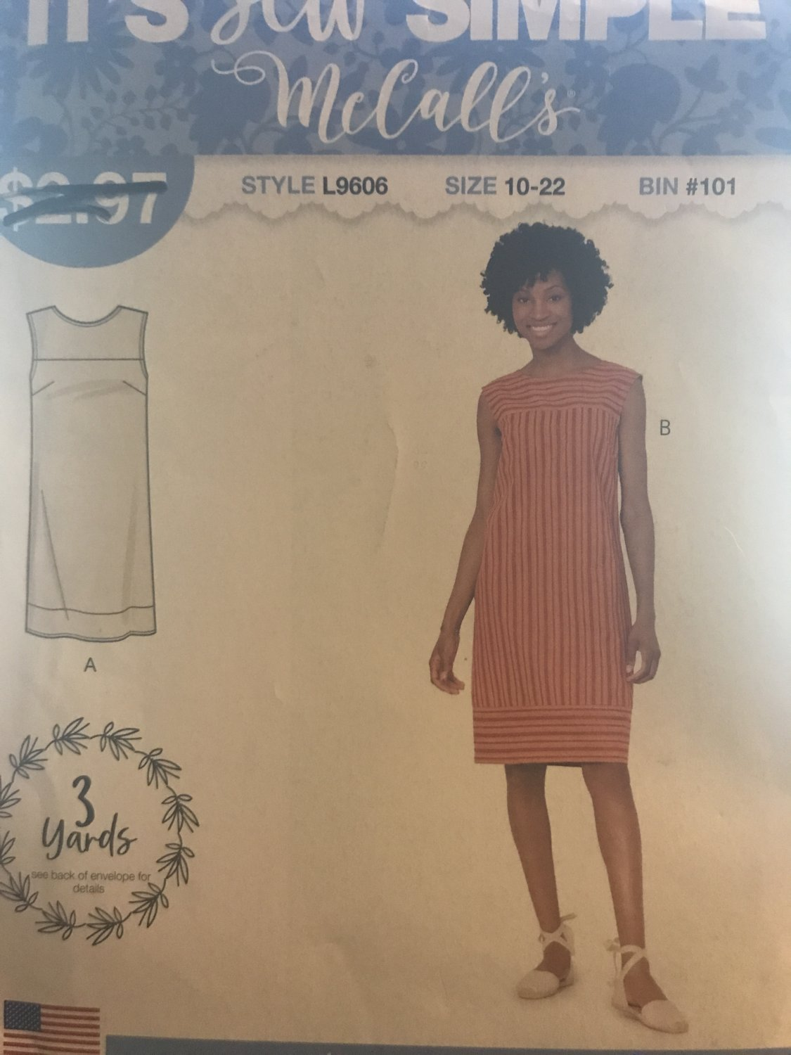 McCall's 9606 L9606 Misses Sew Simple Summer Sleeveless Dress  Size 10 - 22 Sewing Pattern