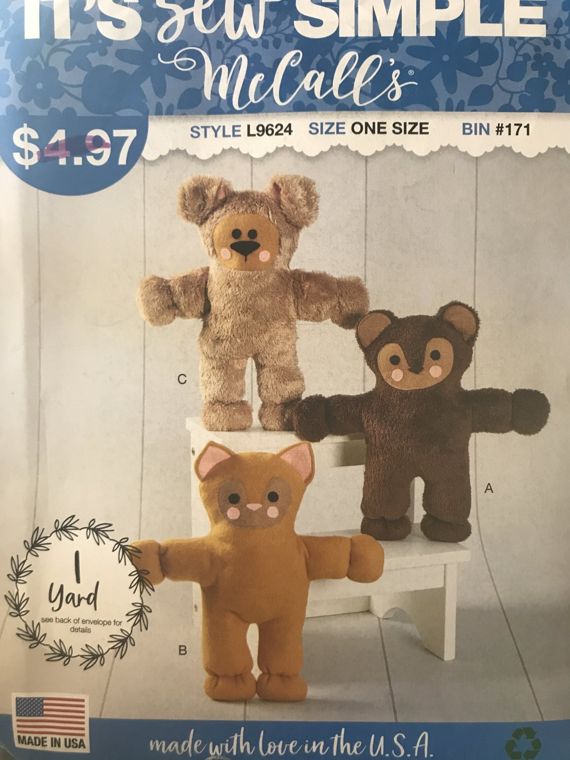 "mccalls sewing pattern 9624 L9624 14"" stuffed animals toys Teddy Bear, Cat and Dog Sewing Pattern"