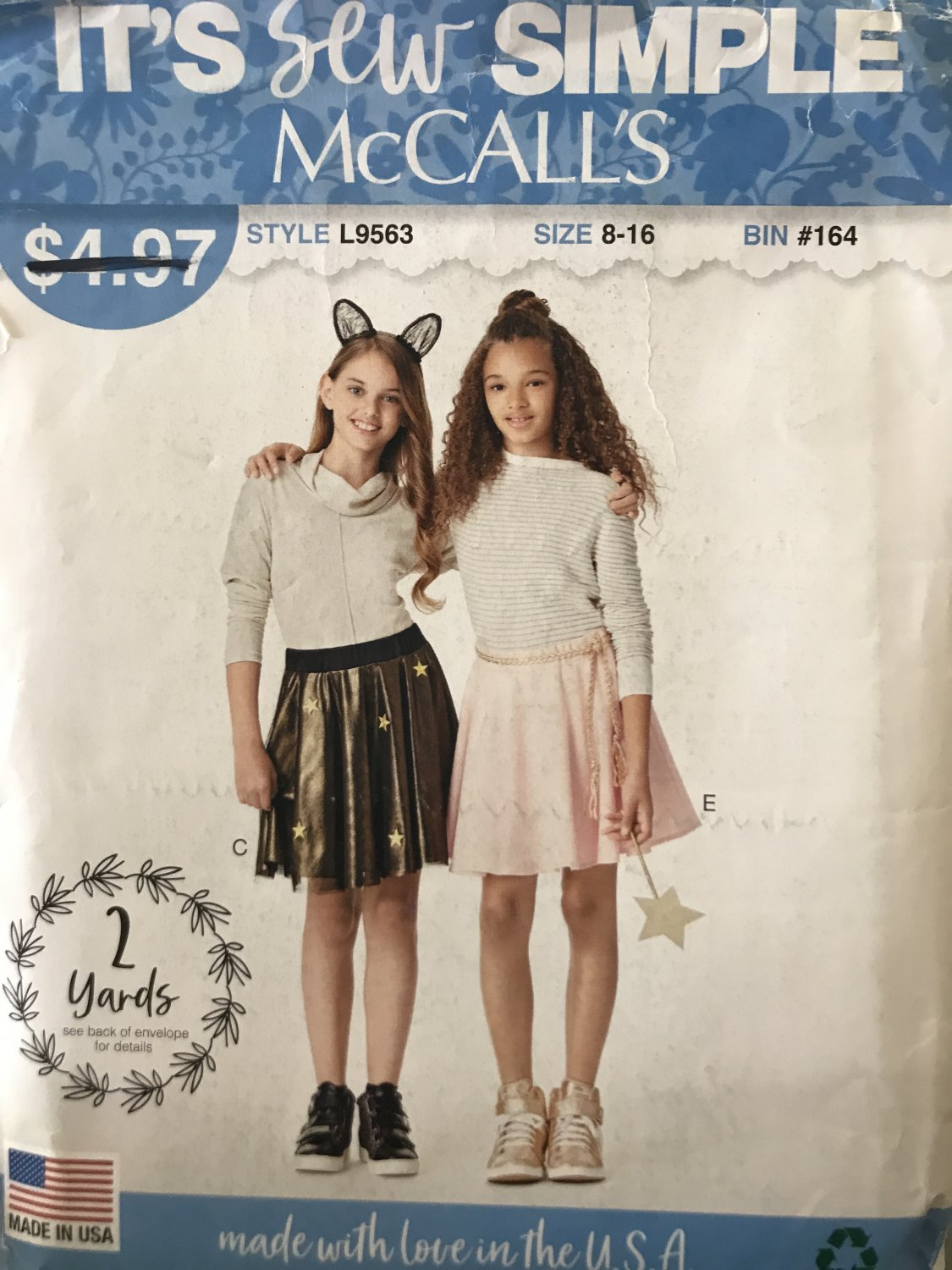 Mccalls Sewing Pattern 9563 L9563 girls' skirts with overlay size 8-16