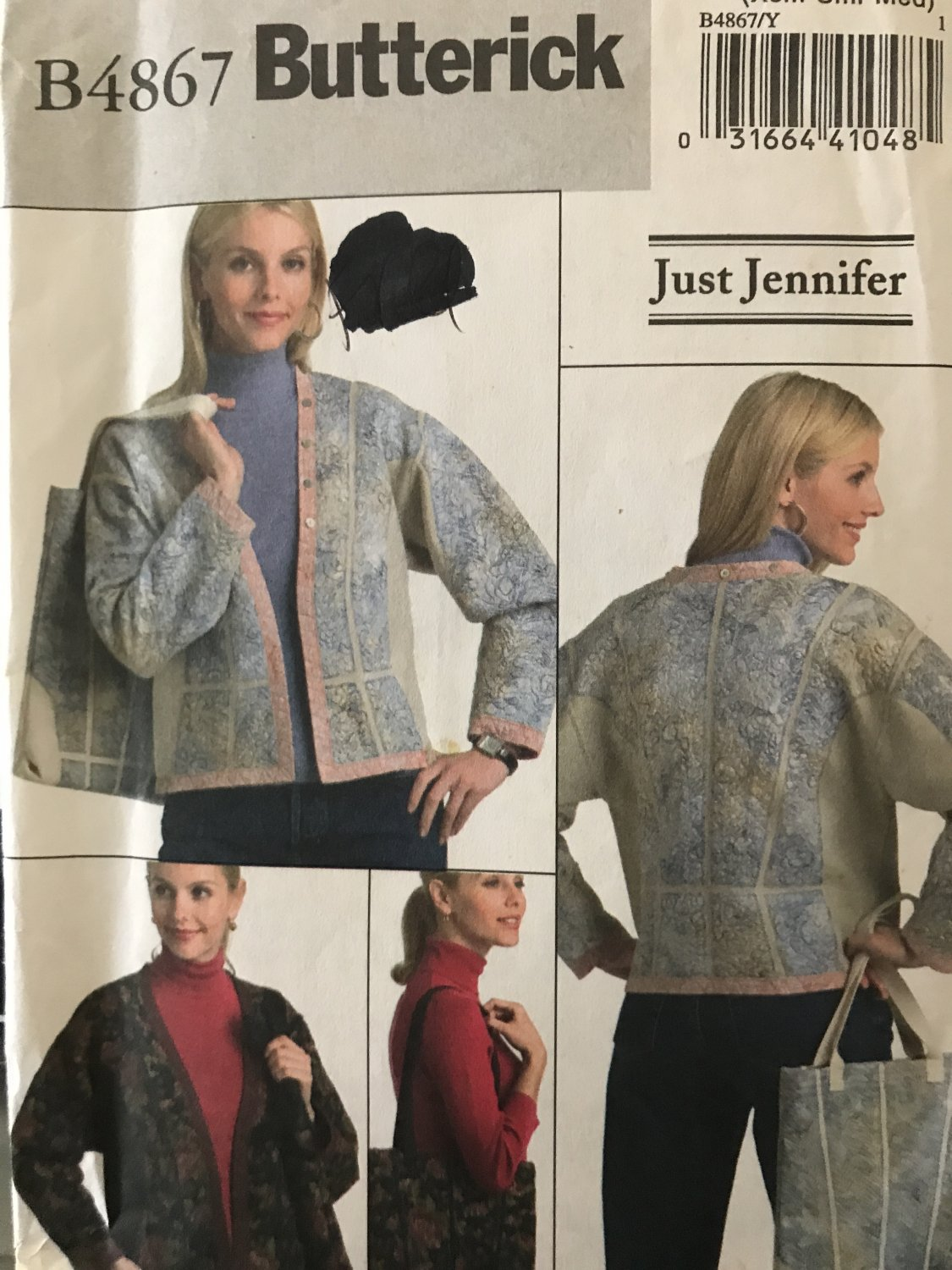 Butterick Pattern B4867 4867 Sewing Pattern Misses' Just Jennifer Jacket  and Bag size XSM to Medium