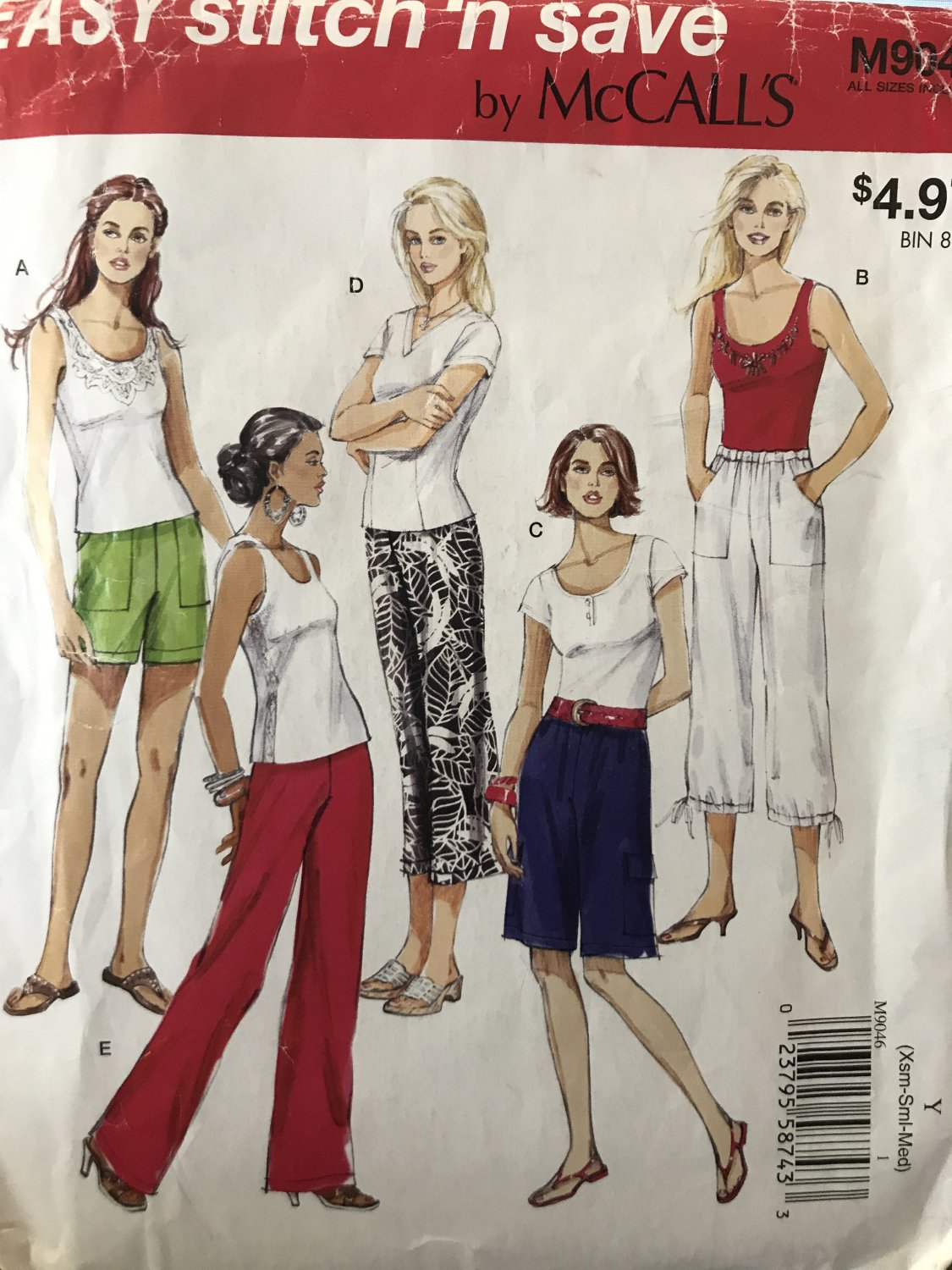 McCalls 9046 Easy Stitch 'n Save Misses Capri shorts Pants Sewing Pattern Size XS - Medium