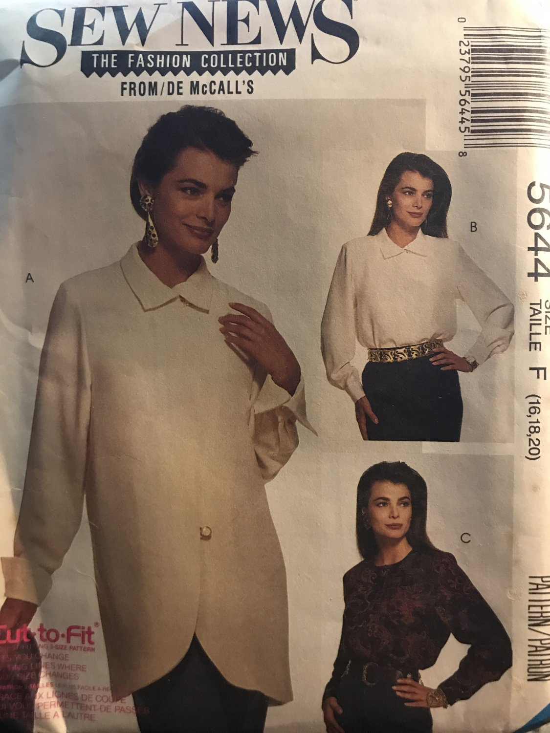 McCall's 5644 Misses' Blouses Sewing Pattern size 16 18 20 Sew News Pattern