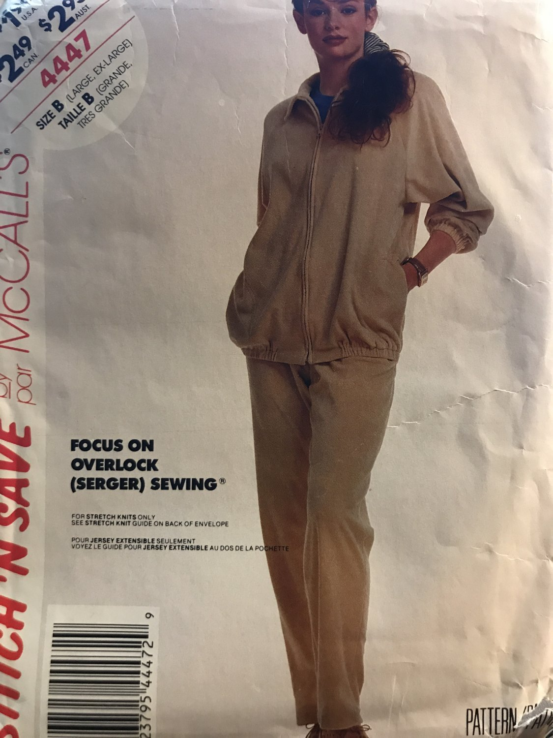 Stitch 'N Save by McCall's 4447 Misses' Jacket Pants Sewing Pattern size Lg - XL For Stretch Knits