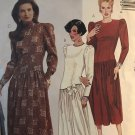 McCall's 4472 Misses Long Sleeve Drop Waist Dress with Puff Sleeves Size 16 Sewing Pattern