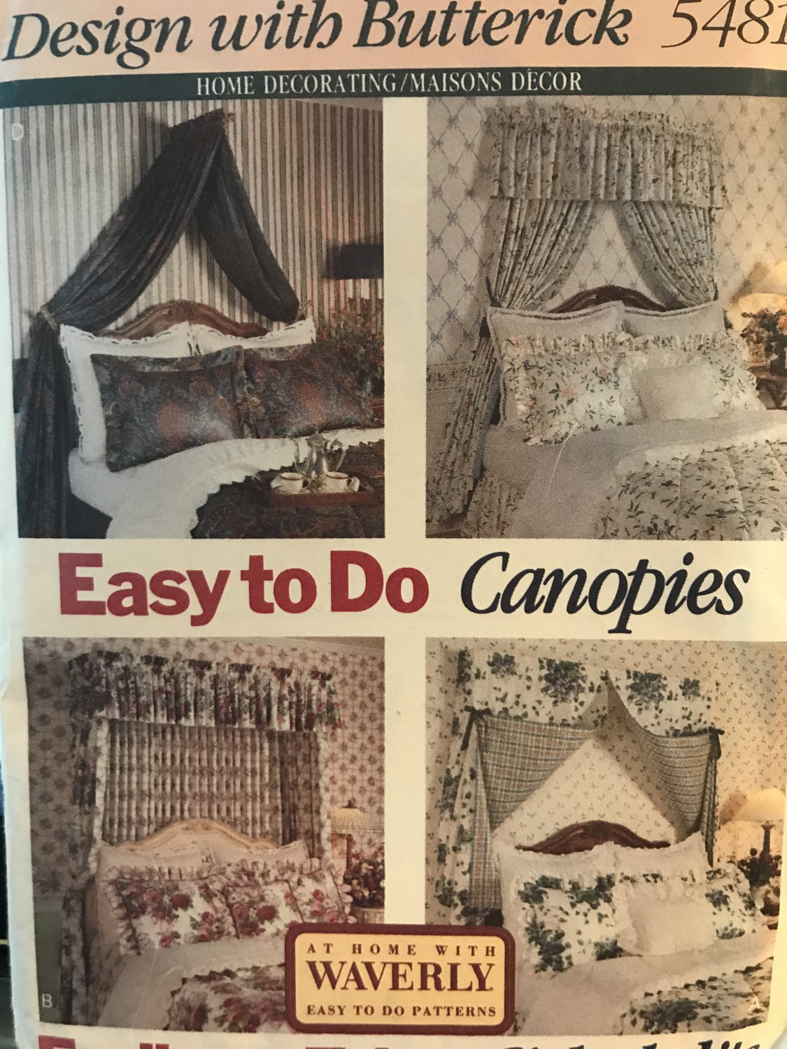 Butterick Sewing Pattern 5481 Easy to do Canopies for over a bed